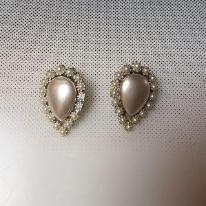 dressy pearl rhinestones clip earrings